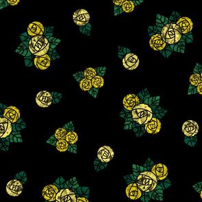 Craftsmen Round Roses Black Yellow