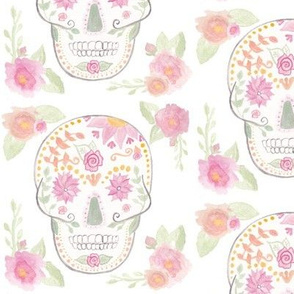 Floral Watercolor Sugar Skull