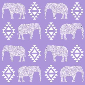 elephant nursery purple aztec geo geometric sweet baby girl