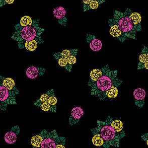 Craftsmen Round Roses Black Yellow Pink