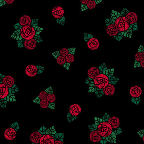 Craftsmen Round Roses Black Red
