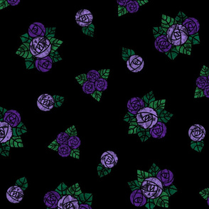 Craftsmen Round Roses Black Purple