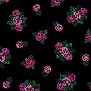 Craftsmen Round Roses Black Pink
