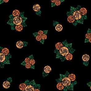 Craftsmen Round Roses Black Orange