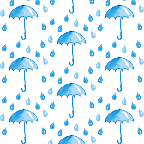 Rain and umbrella fabric by magic_pencil on Spoonflower - custom fabric