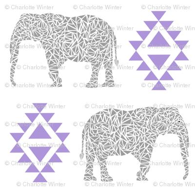 elephant nursery purple aztec geo geometric sweet baby girl