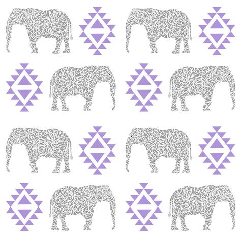 elephant nursery purple aztec geo geometric sweet baby girl  fabric by charlottewinter on Spoonflower - custom fabric