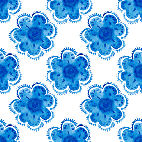 Blue watercolor flowers fabric by magic_pencil on Spoonflower - custom fabric