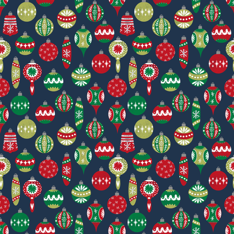 vintage christmas ornaments fabric // retro christmas fabric cute ...