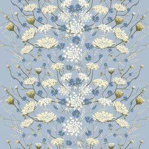 Wild Flower Meadow on Blue