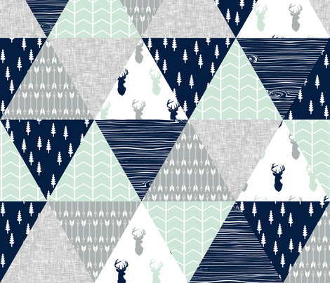 northern lights triangle wholecloth (buck) fabric by littlearrowdesign on Spoonflower - custom fabric