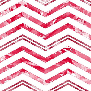 Watercolor Chevron White Red