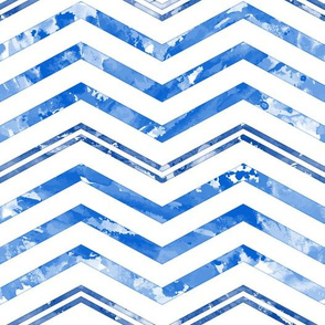 Watercolor Chevron White Blue