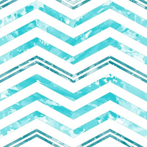 Watercolor Chevron White Aqua