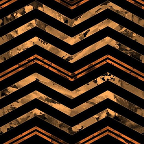 Watercolor Chevron Black Orange