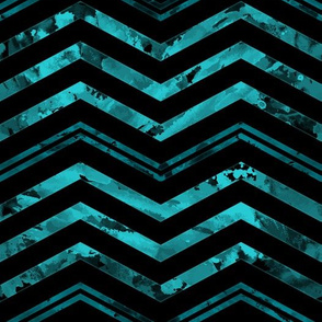 Watercolor Chevron Black Aqua