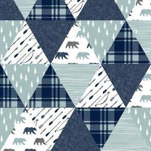 Woodland bear wholecloth || bear (navy)