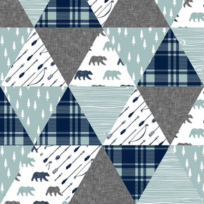 Woodland bear wholecloth || bear (grey)