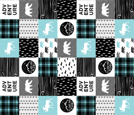 the happy camper in teal & black (90) || wholecloth quilt top  fabric by littlearrowdesign on Spoonflower - custom fabric