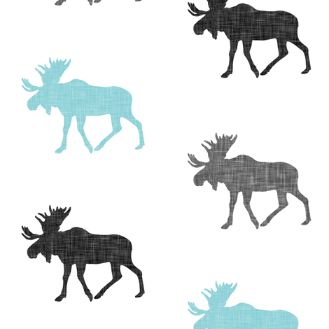 multi moose || grey and light teal fabric by littlearrowdesign on Spoonflower - custom fabric