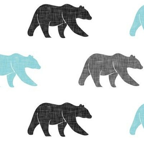 multi bear || grey & light teal