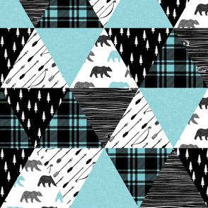 woodland triangle quilt top bear || black & light teal