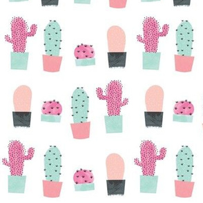 Cacti / pastels in peach, pink & mint of cute succulents and cacti