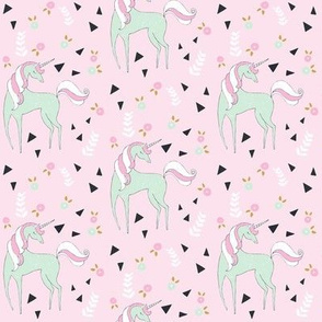 Unicorn mix / cute girls mint & pink unicorn design with triangle & flowers