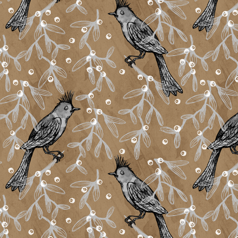 Bird and Mistletoe on Brown Paper fabric by pinky_wittingslow on Spoonflower - custom fabric