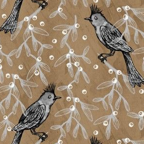 Bird and Mistletoe on Brown Paper