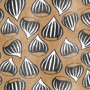 Roasting Chestnuts- Black on Brown