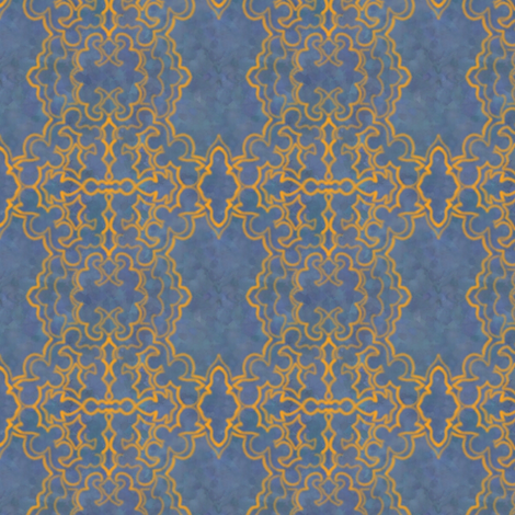 Project 157 | Gold Filigree | Slate Blue fabric by bohobear on Spoonflower - custom fabric