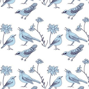Birds and Daisies drawing (light blue on white)
