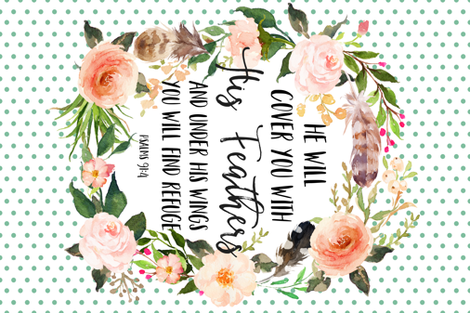 He will Cover You with His feathers - Quote Blanket fabric by shopcabin on Spoonflower - custom fabric