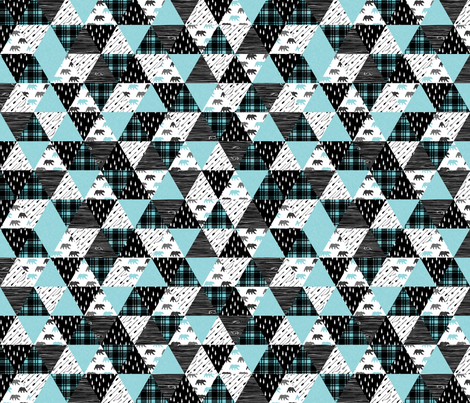 "3"" small scale - woodland triangle wholecloth bear 