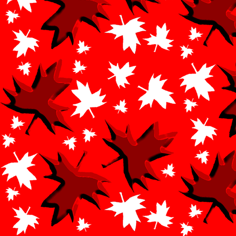 Maple Leaf Multi 3D on Red fabric by esheepdesigns on Spoonflower - custom fabric