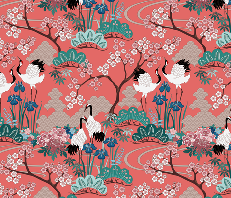 gueth_japanese_garden_frances13 fabric by juditgueth on Spoonflower - custom fabric