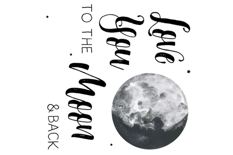 Love You to the Moon and Back Quote - 1 to 1 Yard 90 degrees fabric by shopcabin on Spoonflower - custom fabric