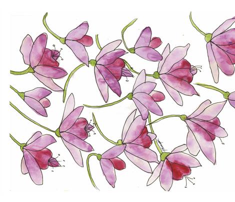 Pink Fuchsias  fabric by backyarddesigner on Spoonflower - custom fabric