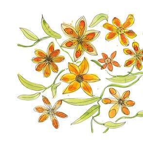Orange Floral Whimsy