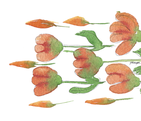 Peach Pink Tulips and buds fabric by backyarddesigner on Spoonflower - custom fabric