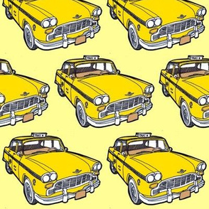1963-1982 Checker Taxi Cab on yellow background