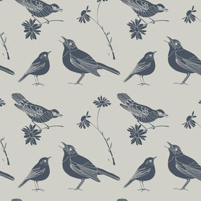 Birds and Daisies (drawing, blue on gray)