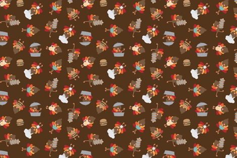 turkeys in the kitchen fabric by dorkydoodles on Spoonflower - custom fabric