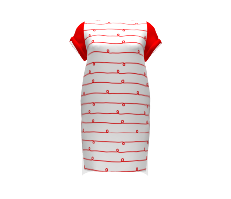 Big Red Stripes and Loops on White