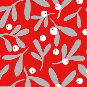 Mistletoe Scatter - Grey on Red