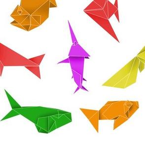 Origami school colored fish