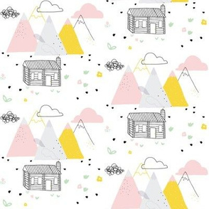 Alpine Cabin and Mountains / cute pastel snowy mountains with florals. pink yellow grey
