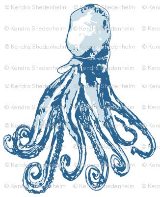 Octopus Watercolor in blues