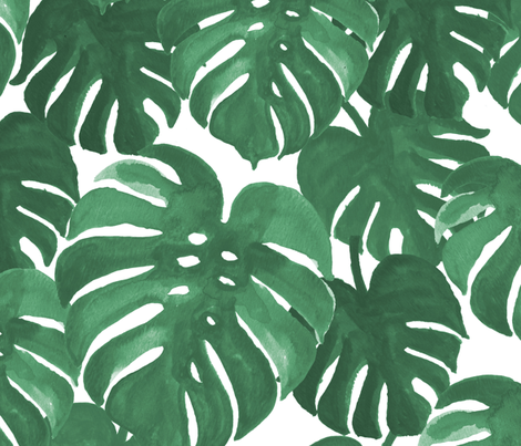 monstera cheese plant painted tropical palms botanical tropical palm springs trendy plants cactus succulents plants fabric by charlottewinter on Spoonflower - custom fabric